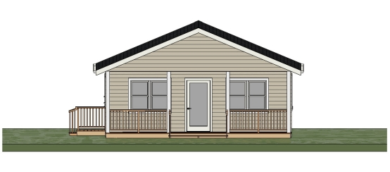 24 x 40 Three Bedroom Cottage Plan - Front View