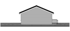 24 x 40 Three Bedroom Cottage Plan - Rear View