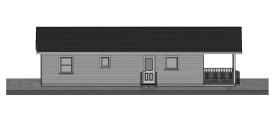 24 x 40 Three Bedroom Cottage Plan - Side View 2