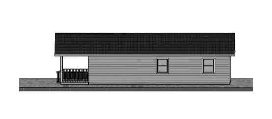24 x 40 Three Bedroom Cottage Plan - Side View